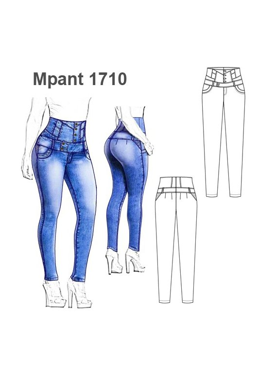Molde Pantalon Levanta Cola Mujer 1710